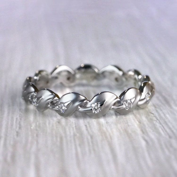 Matching Leaf Bud Diamond Wedding Ring in White Gold by Parade | 02