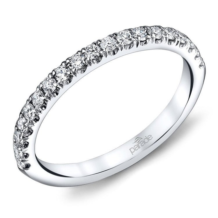 Matching Scallop Diamond Wedding Ring in White Gold by Parade | 01