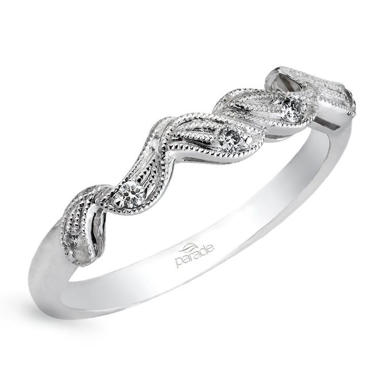 Meandering Vine Diamond Wedding Ring in White Gold by Parade | 01