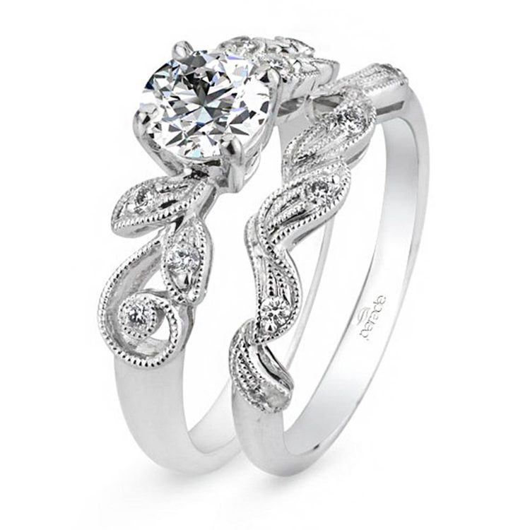 Meandering Vine Diamond Wedding Ring in White Gold by Parade | 02