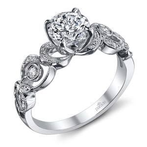 Meandering Scroll Diamond Engagement Ring in White Gold by Parade
