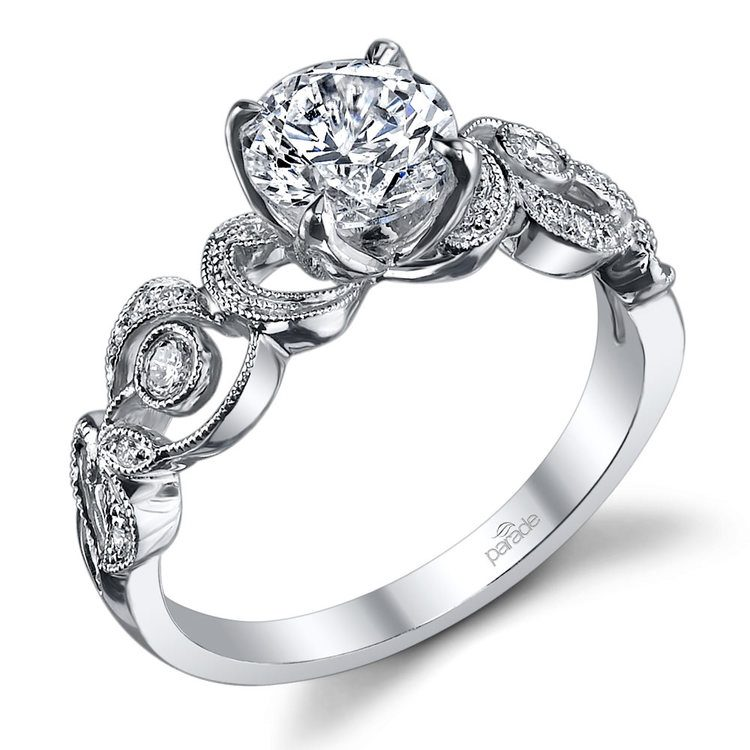 Meandering Scroll Diamond Engagement Ring in White Gold by Parade | 01