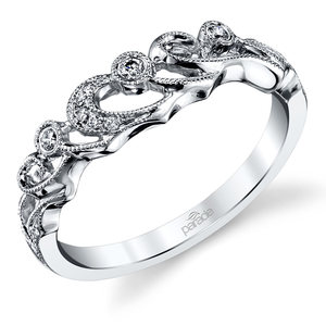 Meandering Scroll Matching Diamond Wedding Ring in White Gold by Parade