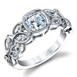 Milgrain Leaf Bezel Cushion Diamond Engagement Ring in White Gold by Parade | Thumbnail 01