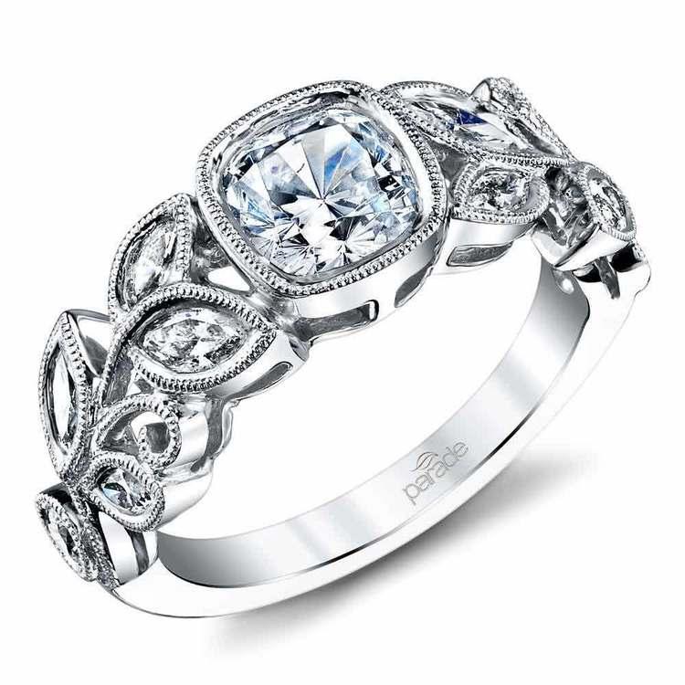 Milgrain Leaf Bezel Cushion Diamond Engagement Ring in White Gold by Parade | 01