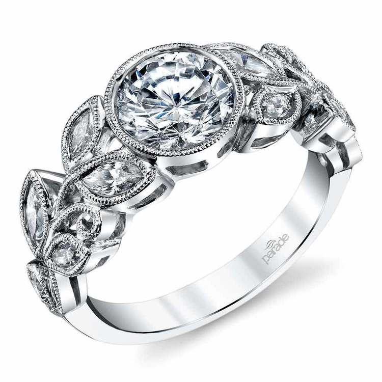 Milgrain Leaf Bezel Round Diamond Engagement Ring in White Gold by Parade   01