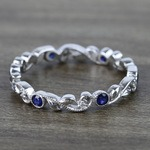 Milgrain Vine Diamond and Sapphire Eternity Band in White Gold by Parade | Thumbnail 02