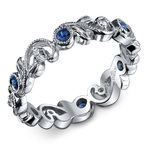 Milgrain Vine Diamond and Sapphire Eternity Band in White Gold by Parade | Thumbnail 01