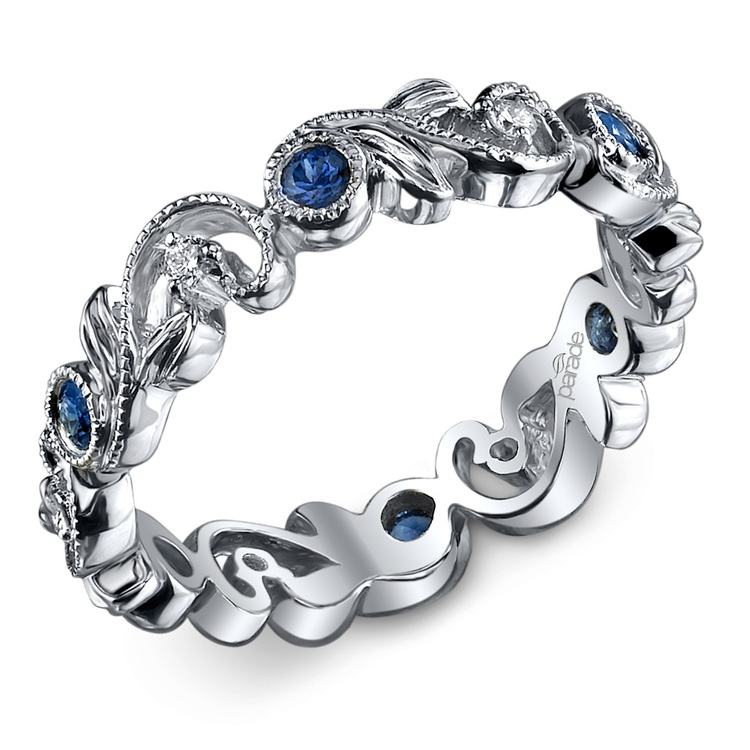 Milgrain Vine Diamond and Sapphire Eternity Band in White Gold by Parade | 01