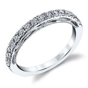 Milgrained Matching Diamond Wedding Ring in White Gold by Parade