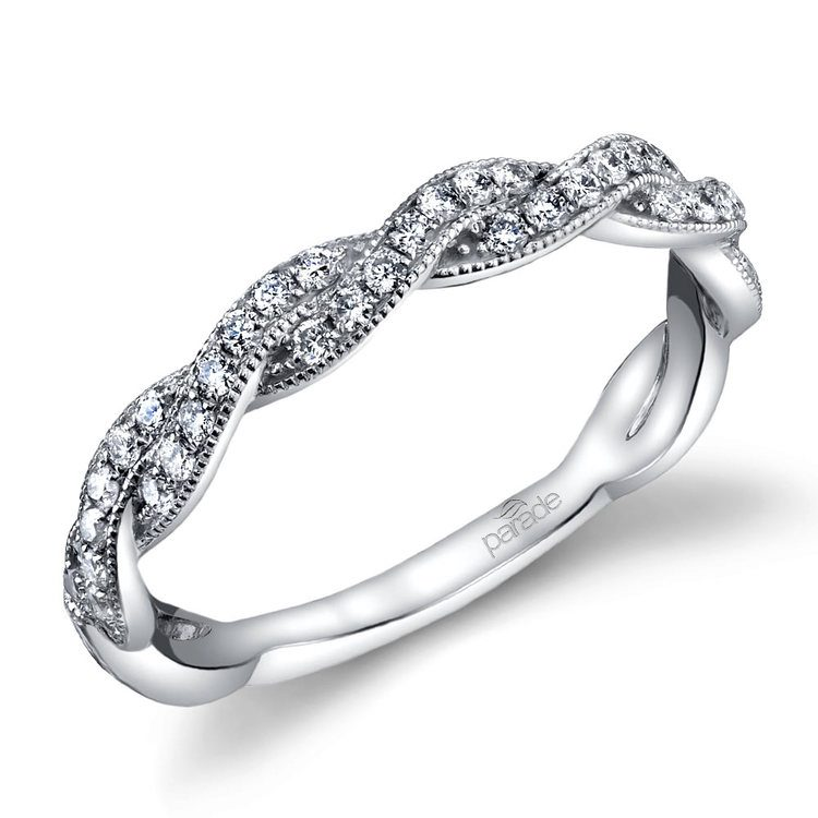 Modern Twist Diamond Wedding Ring in White Gold by Parade | 01