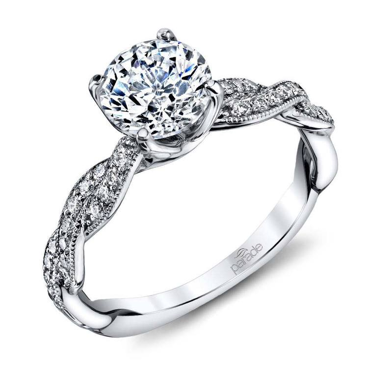 Modern Twist Diamond Engagement Ring with Lyria Crown in Platinum by Parade   01