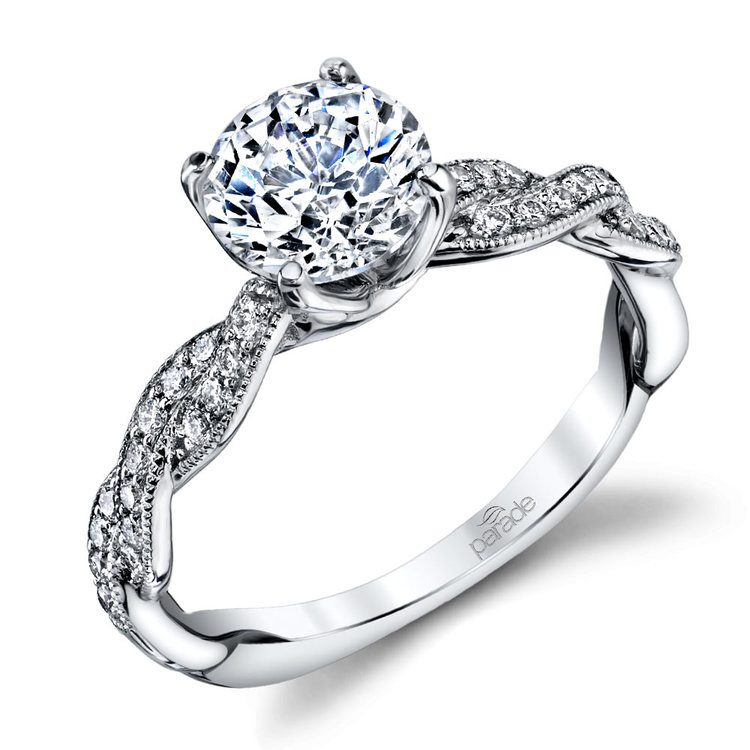 Modern Twist Diamond Engagement Ring with Lyria Crown in Platinum by Parade | 01