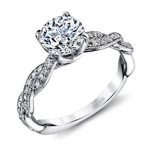 Modern Twist Diamond Engagement Ring with Lyria Crown in White Gold by Parade
