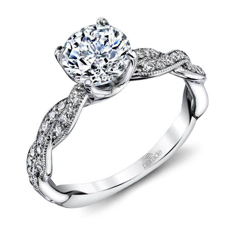 Modern Twist Diamond Engagement Ring with Lyria Crown in White Gold by Parade | 01