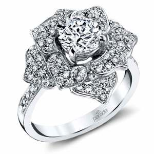 Moonlit Flower Diamond Engagement Ring in White Gold by Parade