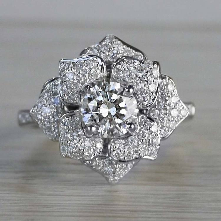 Moonlit Flower Diamond Engagement Ring in White Gold by Parade | 05