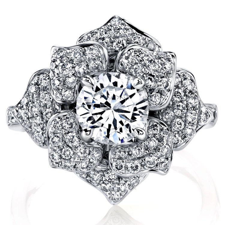 Moonlit Flower Diamond Engagement Ring in White Gold by Parade | 02