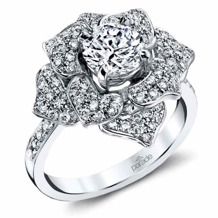 Moonlit Flower Diamond Engagement Ring in White Gold by Parade | 01