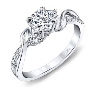 New Leaves Three Stone Diamond Engagement Ring in Platinum by Parade