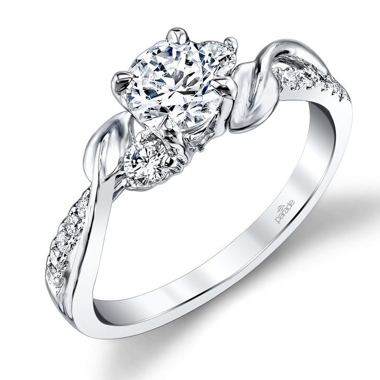 New Leaves Three Stone Diamond Engagement Ring in Platinum by Parade | 01