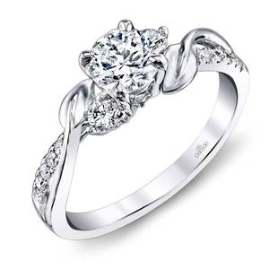 New Leaves Three Stone Diamond Engagement Ring in White Gold by Parade