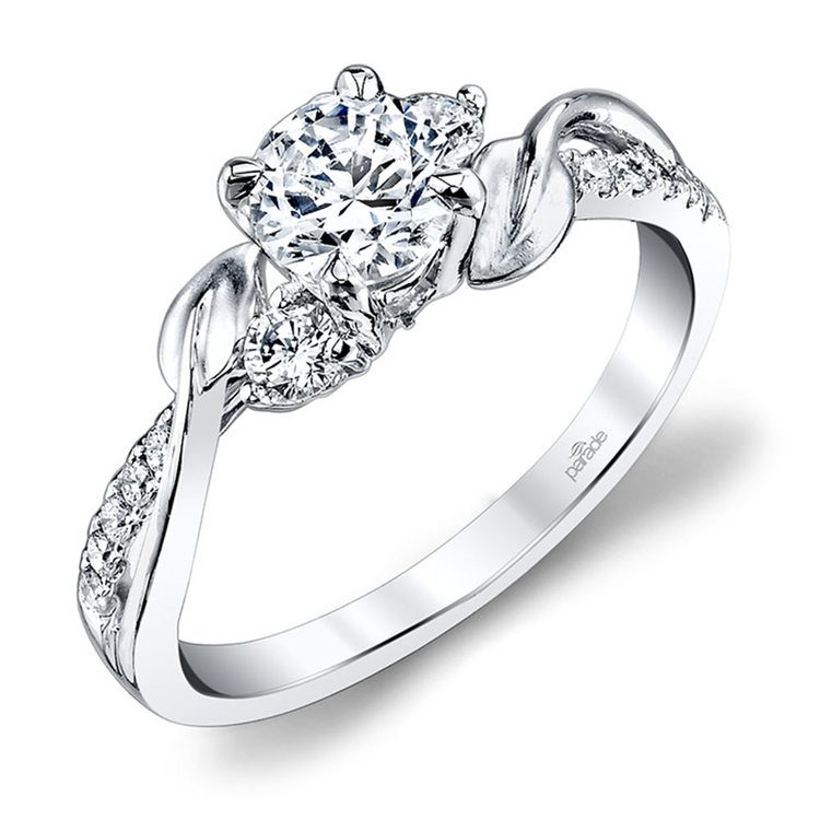New Leaves Three Stone Diamond Engagement Ring in White Gold by Parade | 01