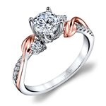 New Leaves Three Stone Diamond Engagement Ring in White and Rose Gold by Parade | Thumbnail 01