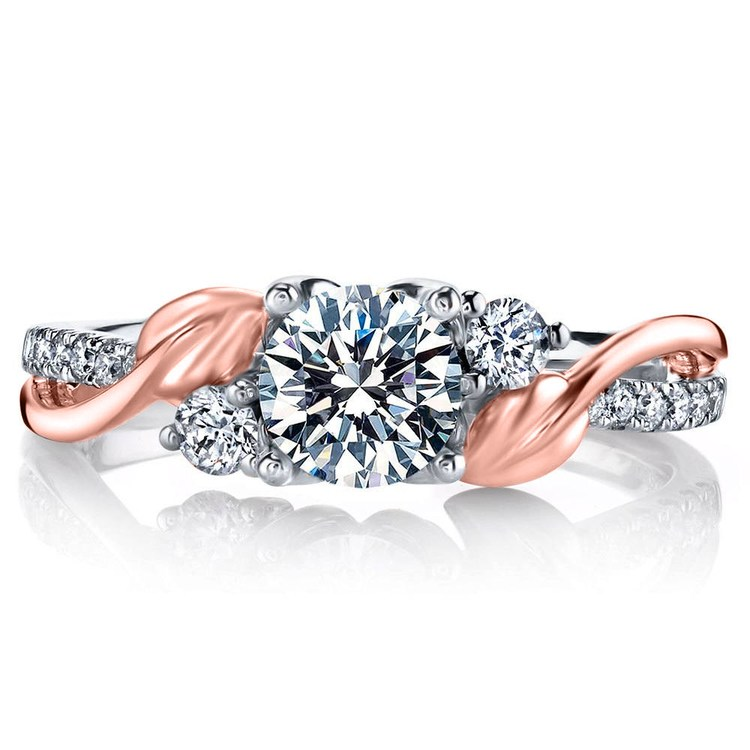 New Leaves Three Stone Diamond Engagement Ring in White and Rose Gold by Parade | 02