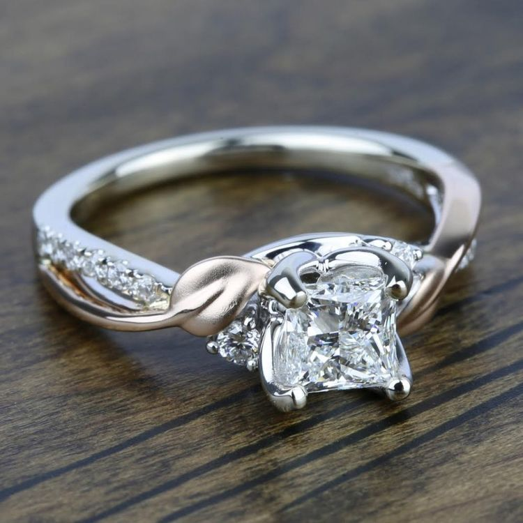 New Leaves Three Stone Diamond Engagement Ring in White and Rose Gold by Parade | 03
