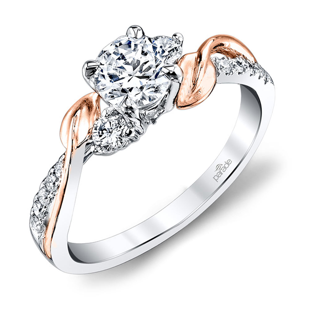 New Leaves 3 Stone Diamond Rose White Gold Ring Designer