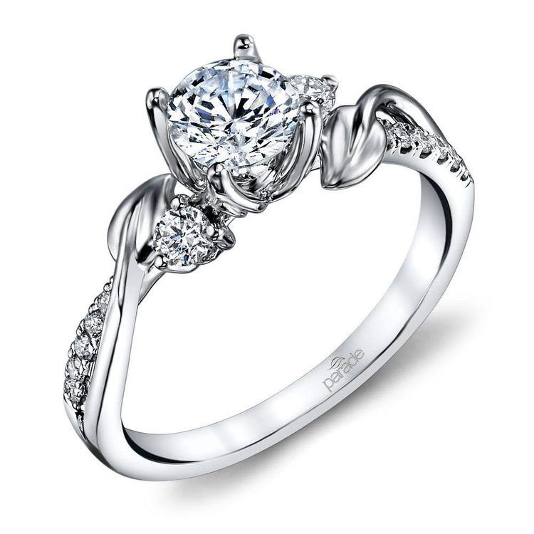 New Leaves Diamond Engagement Ring with Lyria Crown in Platinum by Parade | 01