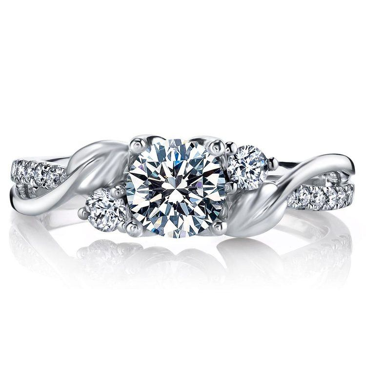New Leaves Diamond Engagement Ring with Lyria Crown in Platinum by Parade | 02