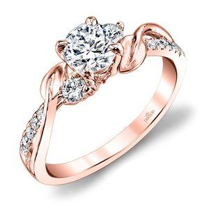 New Leaves Diamond Engagement Ring with Lyria Crown in Rose Gold by Parade