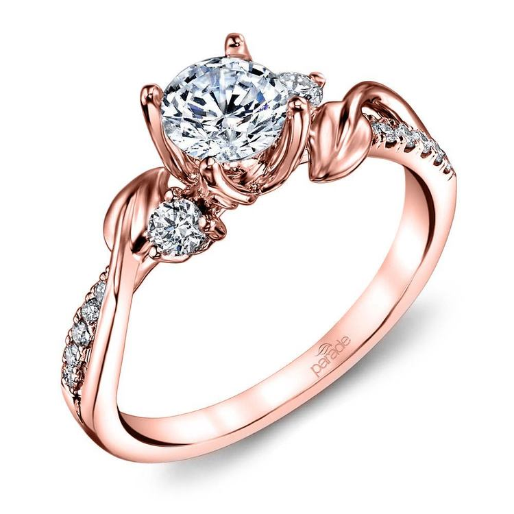 New Leaves Diamond Engagement Ring with Lyria Crown in Rose Gold by Parade | 01
