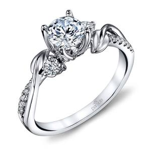 New Leaves Diamond Engagement Ring with Lyria Crown in White Gold by Parade