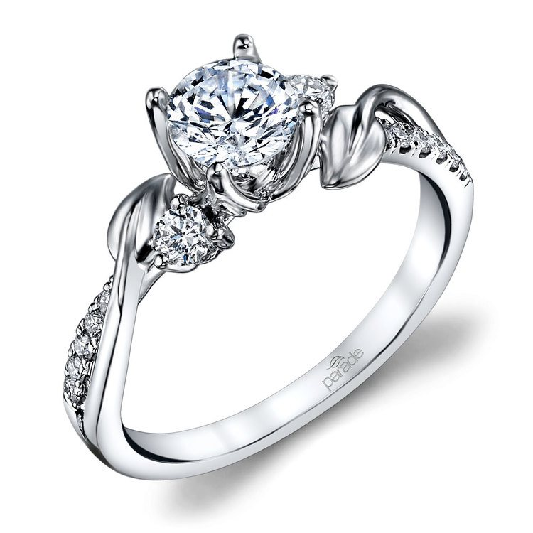 New Leaves Diamond Engagement Ring With Lyria Crown In