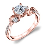 New Leaves Diamond Engagement Ring with Lyria Crown in Rose Gold by Parade | Thumbnail 01