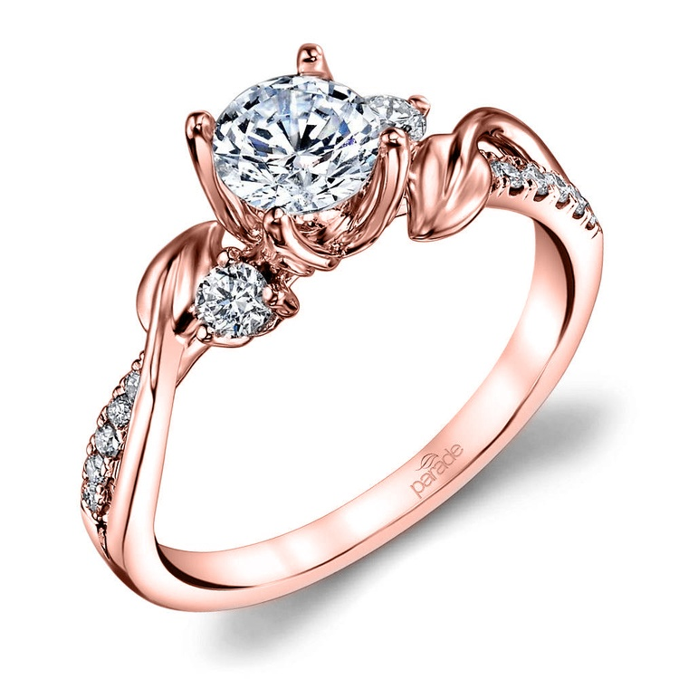 New Leaves Diamond Engagement Ring with Lyria Crown in Rose Gold by Parade   01