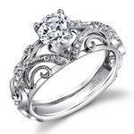 Delicate Etched Diamond Engagement Ring in White Gold by Parade | Thumbnail 01