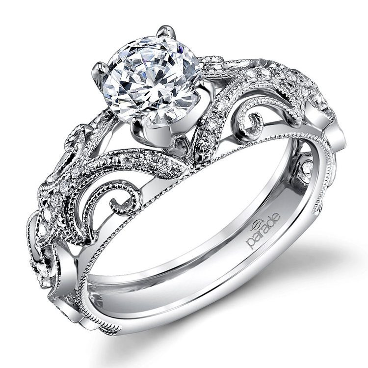 Delicate Etched Diamond Engagement Ring in White Gold by Parade | 01