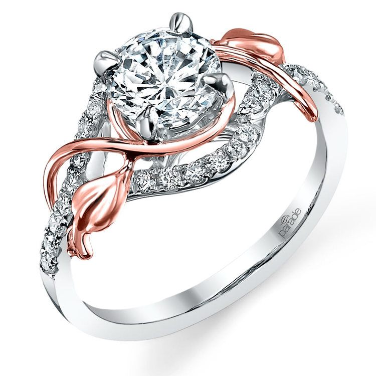 Wrapping Vine Diamond Engagement Ring in White and Rose Gold by Parade | 01