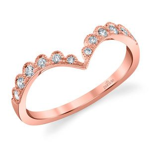 Pointed Chevron Lumiere Wedding Ring in Rose Gold by Parade