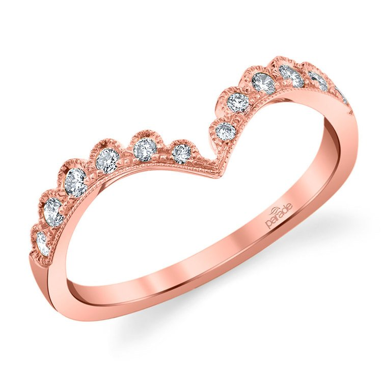 Pointed Chevron Lumiere Wedding Ring in Rose Gold by Parade | 01