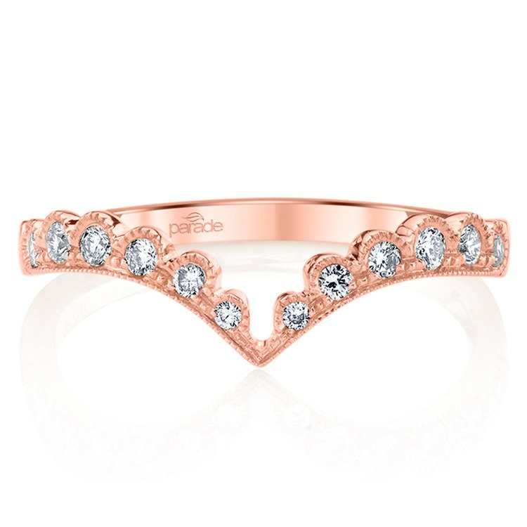 Pointed Chevron Lumiere Wedding Ring in Rose Gold by Parade | 02