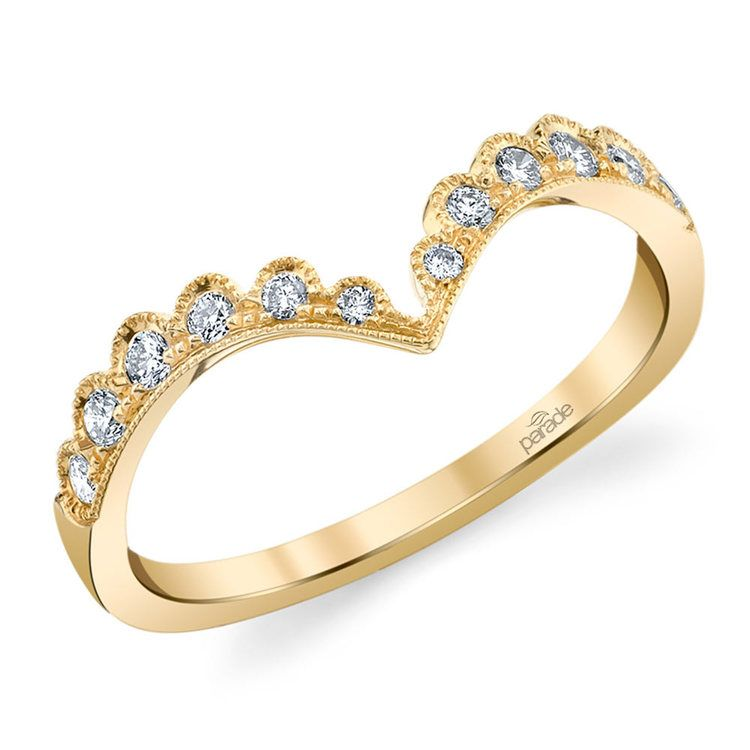 Pointed Chevron Lumiere Wedding Ring in Yellow Gold by Parade | 01