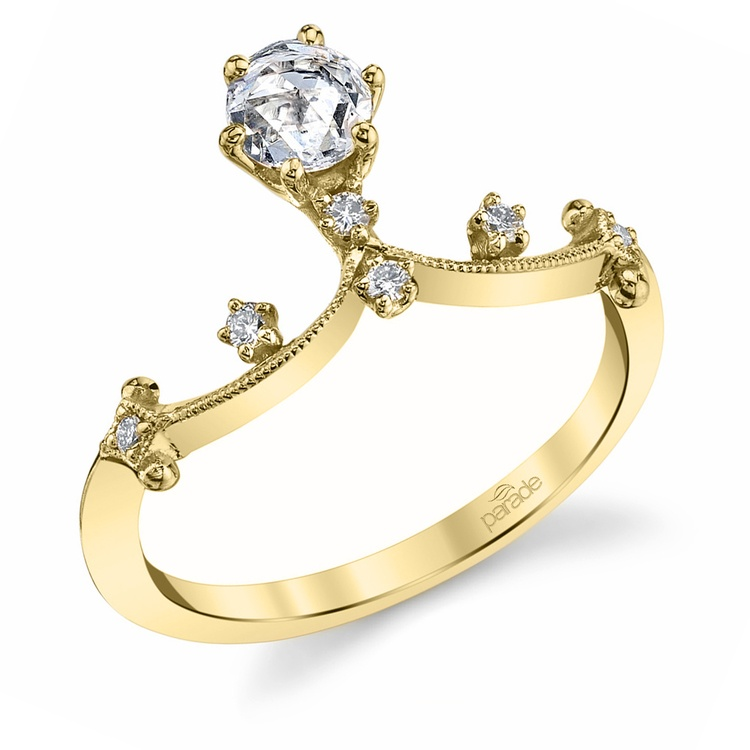 Rose Cut Crown Diamond Ring in Yellow Gold by Parade | 01