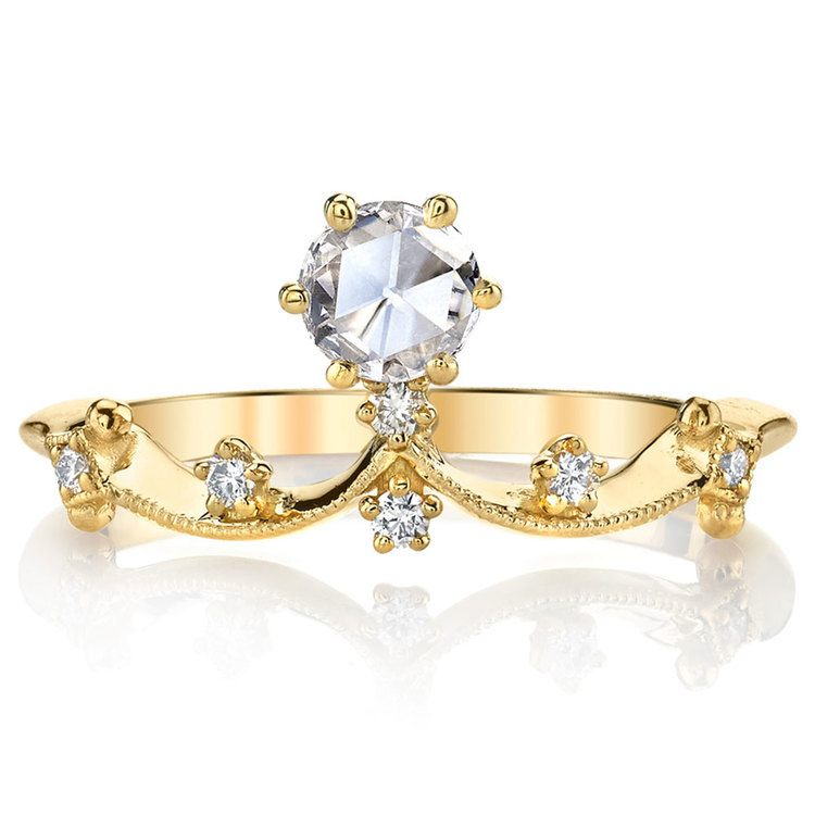 Rose Cut Crown Diamond Ring in Yellow Gold by Parade | 02