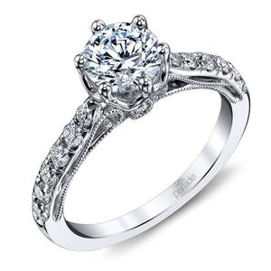 Six-Prong Tapered Cathedral Diamond Engagement Ring in White Gold by Parade