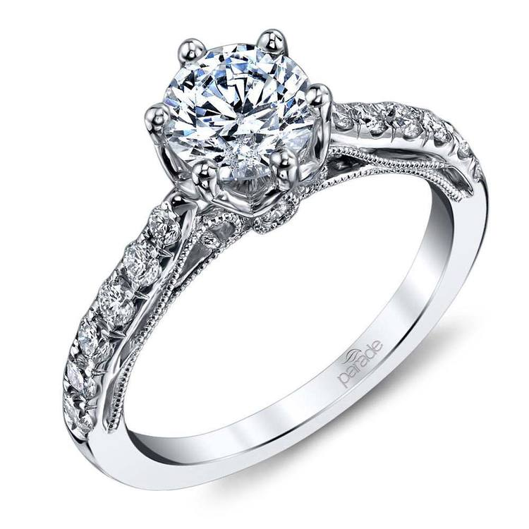 Six-Prong Tapered Cathedral Diamond Engagement Ring in White Gold by Parade   01